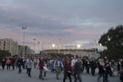 People leaving the MCG after a game