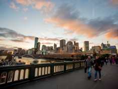 View from Princess Bridge at sunset